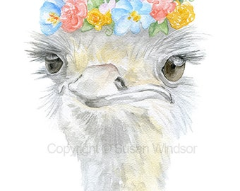 Ostrich Floral Crown Watercolor Painting Greeting Card - Blank 5x7