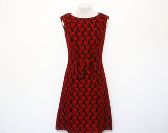 1960's red and black shift dress