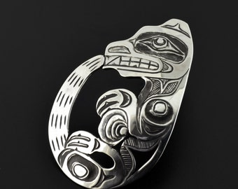 Native American Otter Pendant Hand Engraved Antiqued Sterling Silver