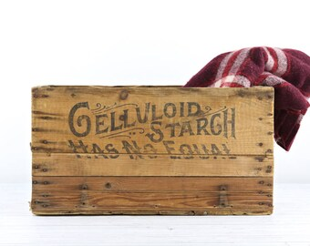 Celluloid Starch Wood Crate Kitchen Decor Laundry Room Decor Wood Crate Vintage Wood Crate Wooden Crate Vintage Wooden Crate Rustic Decor