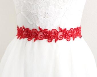Red Beaded Lace with Red Ribbon Sash or Headband, Bridal Sash, Bridesmaid Sash, Flower Girl Sash, SH-43