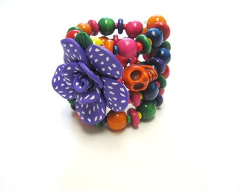 Day of the Dead Bracelet Sugar Skull Jewelry Purple Pink Green Yellow
