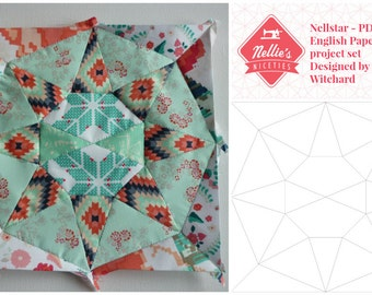 Nellstar - English Paper Piecing (EPP) PDF Nellie's Niceties project set includes PDF templates and guidance sheet