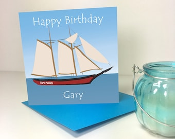 Tall Ships Personalised Birthday Card - GC019