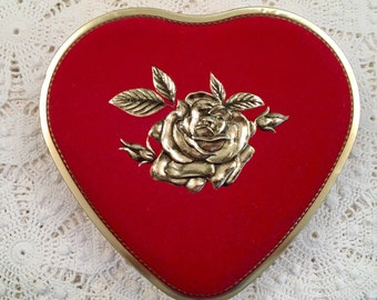 Vintage Tin - Red Heart Shaped Metal Box - West Germany - Cottage Decor - Valentines Day - Heart Gift Box - Candy Tin