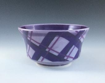 MADE-T0-ORDER Bowl, Purple Ceramic Bowl, Porcelain Bowl, Ceramic Soup Bowl, Purple Plaid Bowl, Wheel Thrown Pottery Bowl, Purple Cereal Bowl
