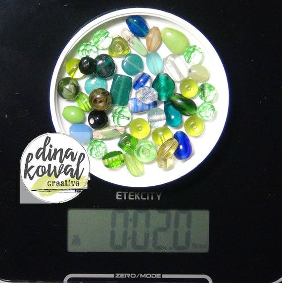 Destash - 2 oz. quality glass bead mix - green 2