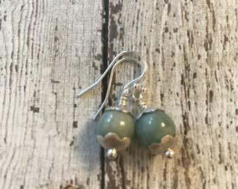 Burma Jade and Fine/Sterling Silver Earrings - Free U.S. Shipping