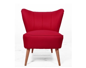 red reupholstered coctail armchair from 1960'