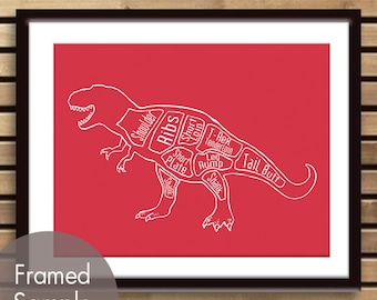 Tyrannosaurus Rex, Dinosaur Butcher Diagram - Art Print (Featured in Barberry Red) (Buy 3 and get One Free)