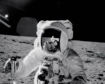 Moonwalker photography Fine Art print or ready to hang canvas wall art - astronaut art print photograph on canvas