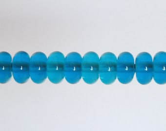 Transparent Turquoise Destash Lampwork Orphan Glass Beads - 10 Donut Spacers