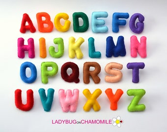 felt MAGNET ALPHABET - BASIC font,  Rainbow alphabet , Felt Alphabet , Felt Letters , Colorful Letters , Educational Toy ,  stuffed felt