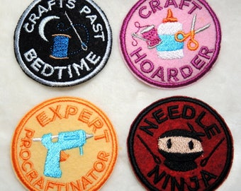 """Style Choice - Machine Embroidered 2.5"""" Patch Adult Crafting Merit Badge Iron On"""