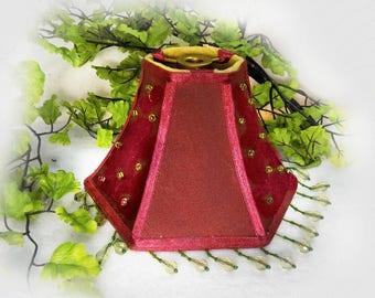 red Lamp Shade, Boudoir lamp shade, Kitsch lampshade -small lamp shade -  bedroom lampshade  - Shabby chic decor - Girly Shade, # 10