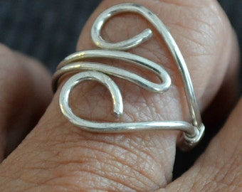 Sterling Silver Heart Ring.  Adjustable. hand forged.
