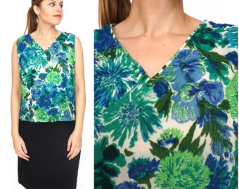 Bright Vintage 1960s Blue and Green Floral Sleeveless V-neck Top | Medium