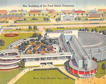 "New York 1939 World's Fair vintage linen postcard ""Ford Motor Company Building""  (unused)"