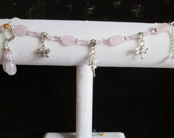 Pastel Pink & Silver Charm Bracelet and Earrings Set #2