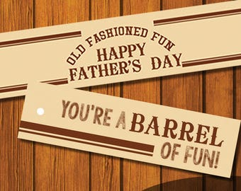 Mason Jar Printable Label / Father's Day / Your a BARREL of fun / Jar Label / Instant Download / Dad / Brown / Root Beer Barrels