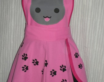 Cat pinafore / apron with paw print