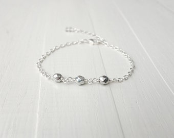 Sparkly bracelet silvery glass beads dainty chain bracelet minimalist layering bracelet for women