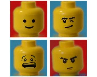 Lego Print Set - 4 prints lego minifigure yellow red 8x10 boy room decor 8x8 lego wall art 11x14 5x5 prints blue playroom art 16x20 happy