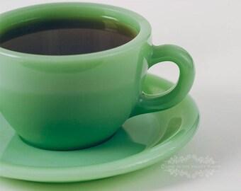 Kitchen Art, Coffee Cup Photo, Jadite Photograph, Still Life, Kitchen Decor, Jade Green, White, Dining Room Decor, Fine Art Print, Foodie