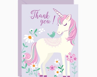 Unicorn cards, Thank You, note cards