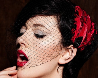 Black Birdcage Veil  Colors Available Gray, Ivory, White, Navy, Red