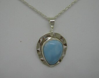 sterling silver and larimar pendant