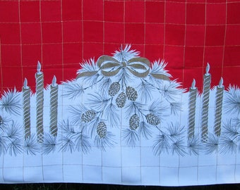 Vintage Christmas Tablecloth Table Cloth Table Linens Pinecones Candles Bows Mid Century Dining Kitchen Textiles Vintage Linens