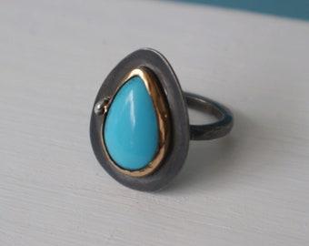 Sleeping Beauty Turquoise Gem Ring Size 7.5