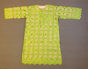 1970's, Indian/African style, over-dress, in cream with bright green and rhinestones, Women's size Medium