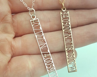 Custom Coordinates Jewelry - Coordinates Necklace  - Cutout Latitude and Longitude Jewelry