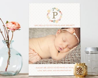 Beautiful Floral Girl Baby Announcement - Floral Wreath Baby Birth Announcement - Say Hello Girl Birth Announcement