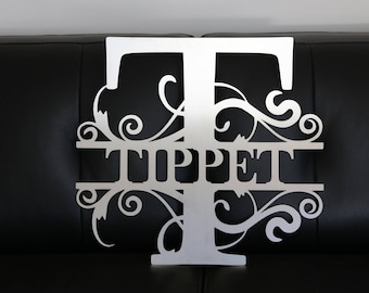Large Metal Family Initial Sign | Last Name Sign | Wall Hanging | Weddings | Photo Props | Paintable | Graduation Gift | Nursery