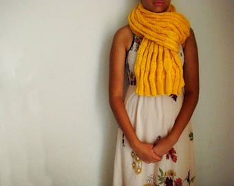 Yellow Textured Scarf, Oversized Knit Scarf