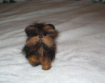 Needle Felted Dog / Custom Miniature Sculpture of your pet Cute / poseable / example Brussels Griffon