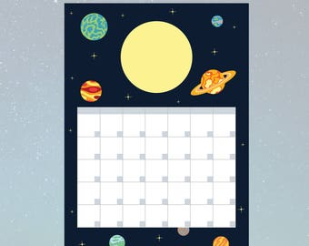 Printable Outer Space Solar System with Planets Blank Month Organiser/Planner/Schedule - PDF DOWNLOAD - A4 (210x291mm)