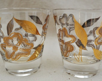 Vintage Dogwood Shot Glass set of 2