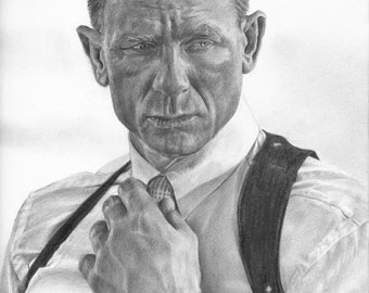 Drawing Print of Daniel Craig as 007 James Bond from Skyfall