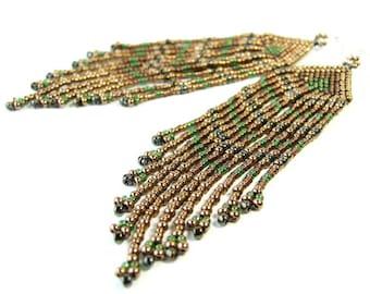 """3.5"""" Long Fringe Earrings Bohemian Earrings Brown Earrings Glass Bead Earrings Beadwork Jewelry Handmade Statement Earrings Sterling Silver"""
