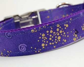 Handmade Dog Collar - A Purple Star for You - Custom Made Purple Dog Collar with Gold Accents and lavendar swirls