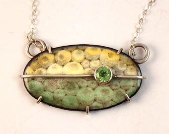 Yellow and Green Enamel Necklace
