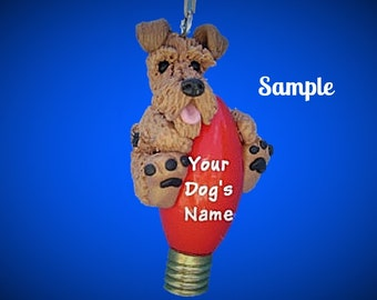Airedale Terrier dog Christmas Light Bulb Ornament Sally's Bits of Clay Personalized Free with dog's name