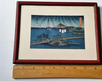Vintage Signed Japanese Woodblock Mt Fuji bay foot bridge and Island Framed