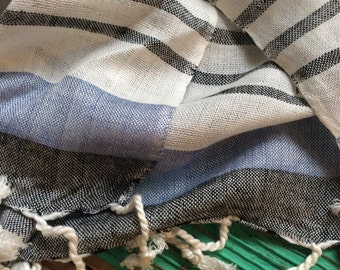 Linen cotton striped scarf