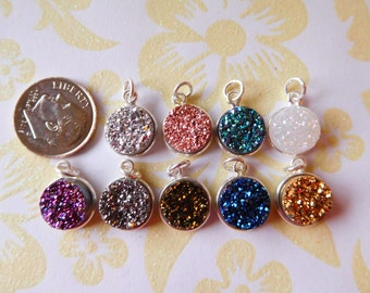Druzy Charm, Druzy Pendant, Drusy Agate, Sterling Silver or 24k Gold Plated, 11 mm / Bulk Pricing 1-50 pieces gcp10 gp ll ap31.2