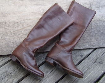 Vintage English Riding boots Brown Leather Handcrafted size US 5